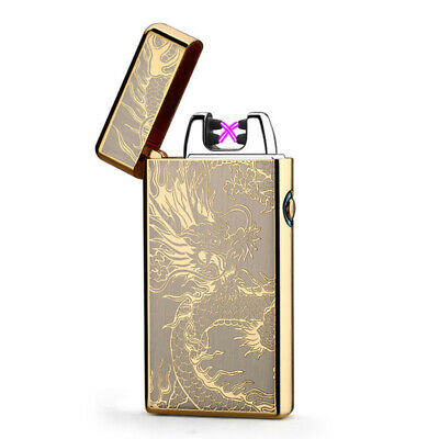 USB Dual Arc Electric Lighter Flameless Rechargeable Windproof Torch Gold Dragon