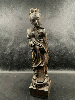 Chinese exquisite eaglewood carved One of Eight Immortals He Xiangu statue