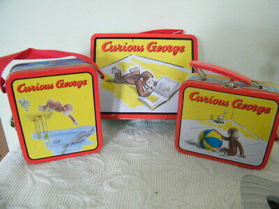 "3-Vtg..collectible Curious George Lunch Tins 1-7.5"" 2-5.5""Excellent Condition"