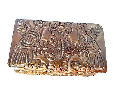 Intricately Carved Doves? Partridges? Hinged Wooden Bird Box