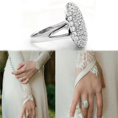 1x Women Wedding Rings Engagement Ring Silver Crystal Jewelry Size 6  VX