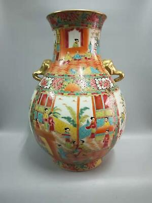Large Chinese Colour Enamel Porcelain Figures Vases Hand-painting Double Ears