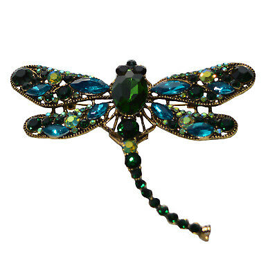 Extra Large Dragonfly Brooch Vintage Antique Gold Green Blue Stones Pin Brooches