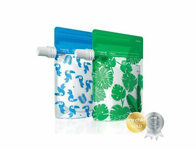 Cherub Baby Special Edition On The Go Reusable Baby Food Pouches Green/Blue 10Pc