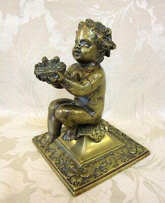 "*Victorian BRONZE Gilded ""CHERUB Holding BIRDS' NEST"" * On Ornate Square Plinth"