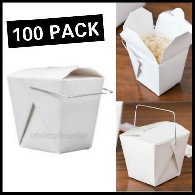 100 Pack 8 oz. White Chinese Paper Take-Out Container with Wire Handle
