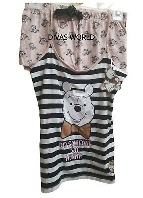 DISNEY Winnie The Pooh Pj Ladies Cami Shorts Pyjama Set Women Nightwear L/XL