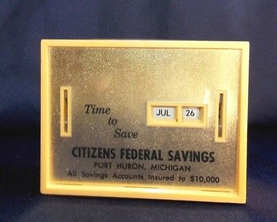 Vtg. All Coin Calendar Bank Citizen's Federal Savings Conscience Slot No Key