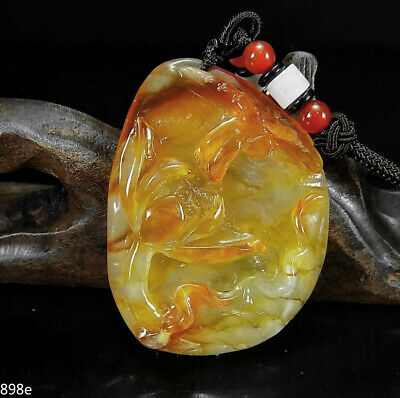 Dotted Unique Stone Flower Ethnic Natural Hand-carved Pendant Lotus White Jade