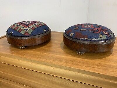 Pair Of Antique domed top foot stools - beaded embroidery footstool Pin Cushion