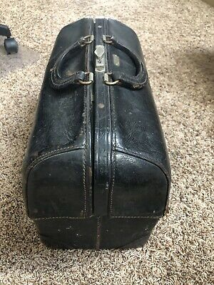 Vintage Emdee Schell Black Leather Medical Doctors Bag Circa 1930/40's