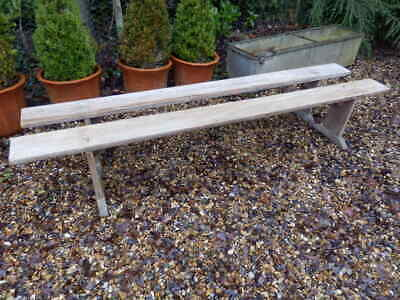 A pair of Benches , pine, antique, very solid, Victorian