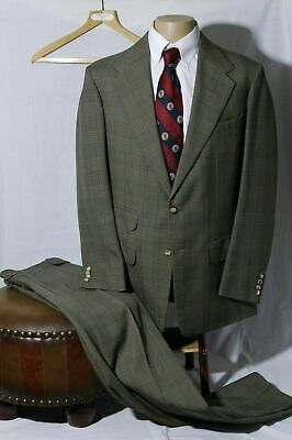 Vtg Anderson & Sheppard Savile Row Men's Taupe Glen Plaid Suit Size 42R W34