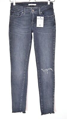 Womens Levis SKINNY Blue 711 Low Rise RIPPED Raw Hem Ankle Jeans Size 8 W26 L32