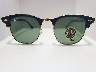 BRAND NEW Ray-Ban Clubmaster Sunglasses RB3016 W0365 51mm Black w/Green Classic
