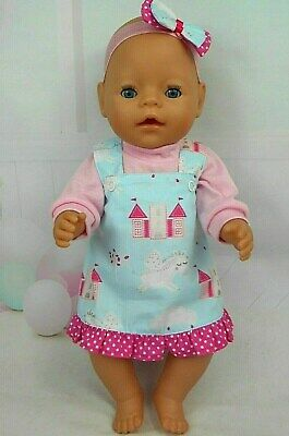 """Dolls clothes for 17"""" BABY BORN~16"""" CABBAGE PATCH DOLL~UNICORN~CASTLES PINAFORE"""