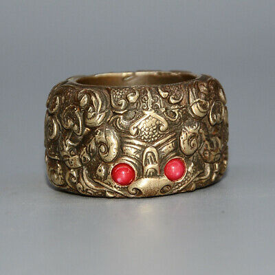 Collect Handwork Copper Carve China Myth Animal Mosaic Agate Delicate Noble Ring