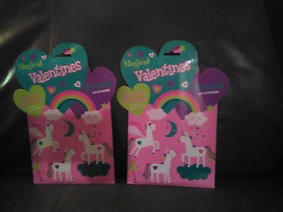 Magical Valentines Day Cards Box of 32 Cards With Over 40 Stickers Set of 2