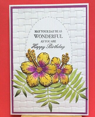 White Happy Birthday Handmade Card DIY Card Making Kit Hibiscus Basket Weave