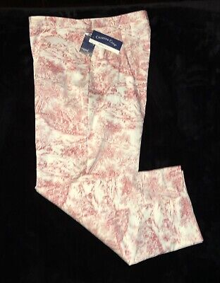 Charter Club Womens Sz 14 Pink/White Printed Crop Capris Pants with Splits New