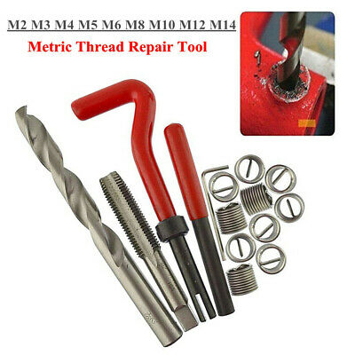 Metric Coil Thread Repair Tool Insert Kit M2 M3 M4 M5 M6 M8 M10 M12 M14 Helicoil