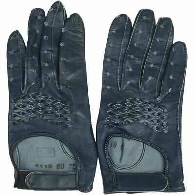 Vintage 1960s Navy Blue Leather Racing Gloves Ladies Size 6.5