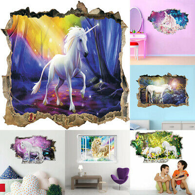 Beautiful Art Unicorn 3D Effect Animal Wall Stickers Home Girls Kids Room Decals