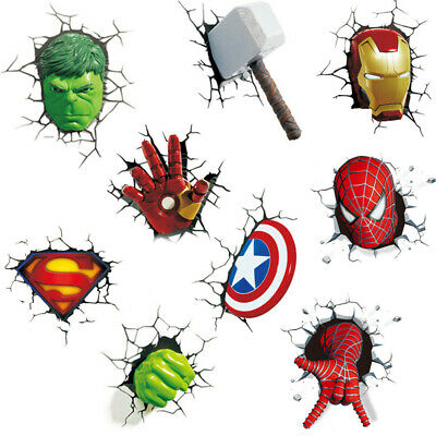 Marvel Avenger 3D Wall Sticker Super Hero Broken Wall Cartoon Art Mural Decal
