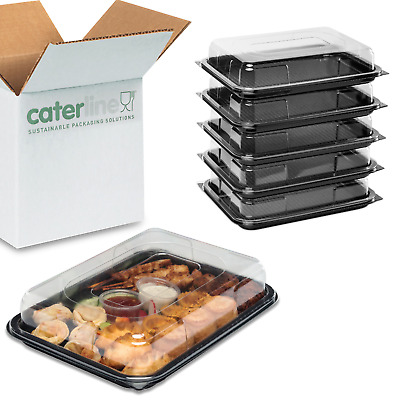15 Caterline small plastic catering trays with lids for sandwiches,cakes,buffet