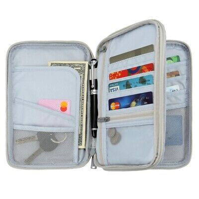 Family Travel Organiser RFID Cards Tickets Passport Document Holder Pouch Wallet