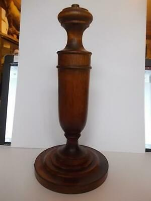 250 / Early To Mid 20Th Century Hand Carved Wooden Oak Table Lamp