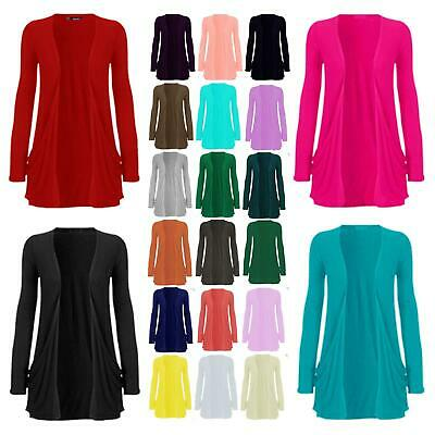 Women Girls Thin Knit Plain Open Boyfriend Cardigan Ladies Long Sleeve Cardi Top
