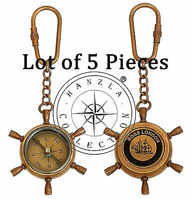 Lot of 5 Pieces Antique Brass Compass Keychain Nautical Maritime Wheel Keyring.