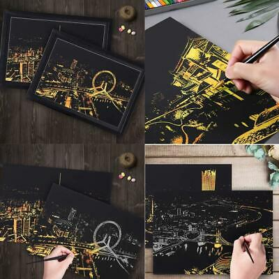 Scratch Drawing Coloring Painting Multicolor World City Nights Pattern s2zl
