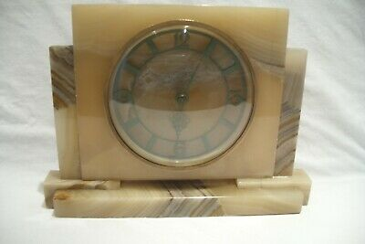 Antique / Vintage Smiths 8 Day Marble Art Deco Mantle Clock.