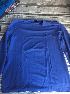 New Nautica- Long Sleeve Solid Crew Neck Shirt Blue Size L