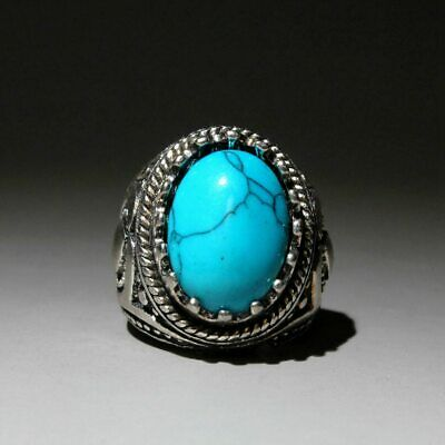 Collectable Chinese Handwork Miao Silver Mosaic Turquoise Auspicious Noble Ring