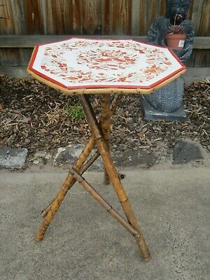 Unique Vintage Retro Tortishell Cane Tile Top Gypsy Occasional Wine Side Table