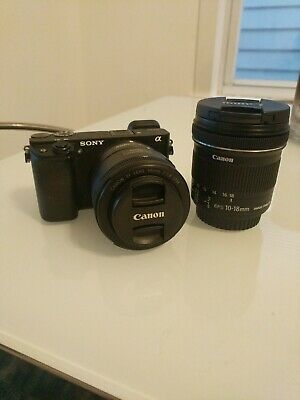 Sony a6300 Camera with Canon 50mm and 10-18mm lenses