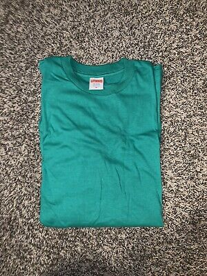 New Supreme Rare Blank All Cotton USA Made GREEN T Shirt MEDIUM LS NWOT CUSTOM