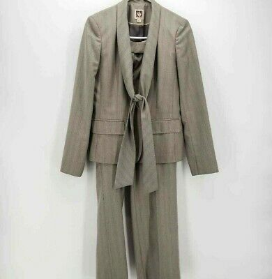 Anne Klein Womens 2 Piece Pant Suit Gray Striped Pockets Long Sleeve Lined 4