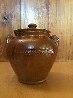 Antique Stoneware Bean Pot with Handles & Lid 19th Century Hand Thrown Decorated