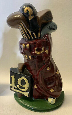 Cast Iron 19th Hole Golf Clubs Bookend / Door Stop
