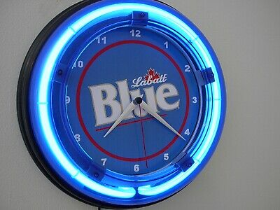 Labatt Blue Canada Beer Bar Man Cave Advertising Blue Neon Wall Clock Sign