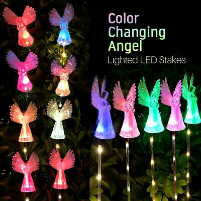 Solar Powered Angel with Star Landscape Garden Stake Color Changing LED Light