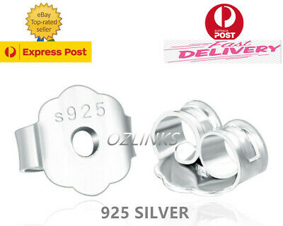 925 Silver Earring Backs Plugs Studs Pads 4mm Butterfly Stoppers