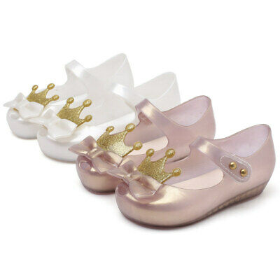 Mini Melissa Crown Bow Kids Girls Jelly Beach Shoes Sandals Toddler EUR 22-29
