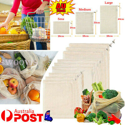 10x Eco Produce Bags Resuable Fruit Vegetable Drawstring Storage Mesh Grocery
