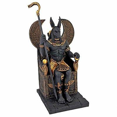 """Ancient Egyptian GOD ANUBIS FIGURINE 10"""" Sitting on the Throne of the Underworld"""