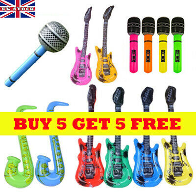 12XInflatable Music Instrument Guitar//Microphone//SAXOPHONE COLORFUL BLOW UP BULK